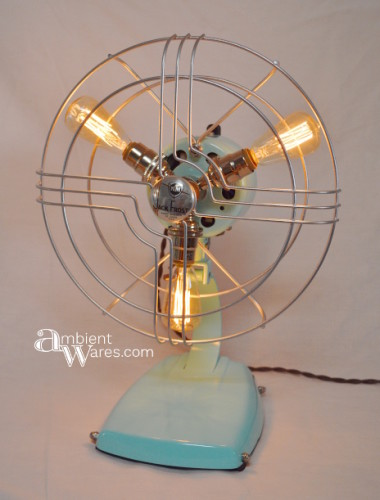 Repurposed Jack Frost Fan Turned Lamp ~ Ambient Wares