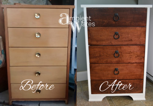 Before & After ~ Revamped Small 5 Drawer Dresser ~ Ambient Wares