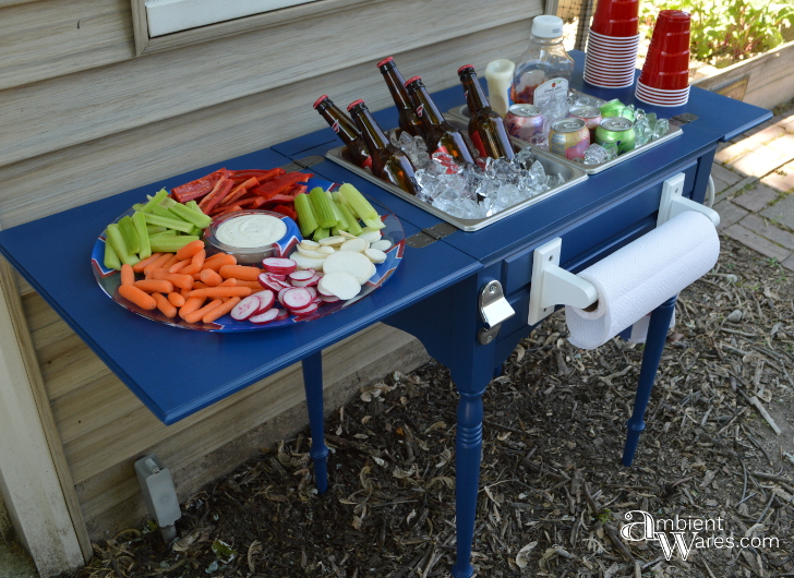 Here's an Awesome Old Sewing Machine Table Idea! DIY it into a Food and Beverage Station! ~ AmbientWares.com