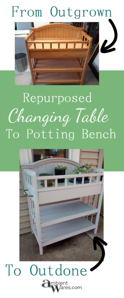 Repurposed Changing Table To Potting Bench ~ www.ambientwares.com