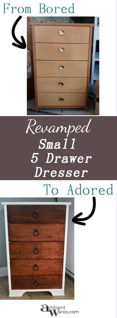 Don't pass up on that cute little outdated piece you see when shopping. Pick it up and make it look brand new again. See how I refurbished this small 5 drawer dresser! ambientwares.com