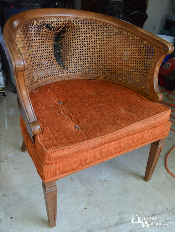Refurbished Upholstered Cane Back Barrel Chair ~ ambient wares