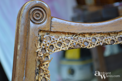 Refurbished Upholstered Cane Back Barrel Chair. For this and more project ideas, visit AmbientWares.com