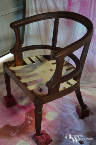 Refurbished Upholstered Cane Back Barrel Chair ~ ambientwares.com