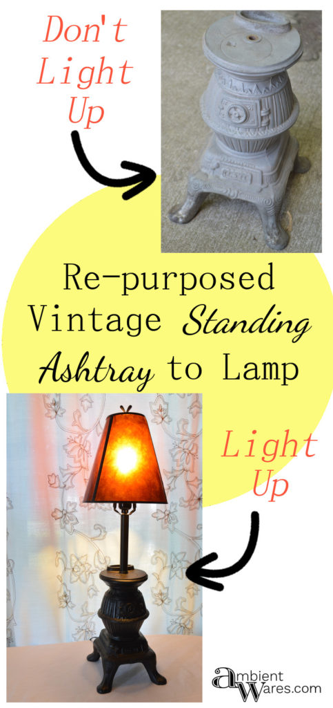 Vintage Standing Ashtray Base Repurposed Into A Lamp. For this and more DIY lighting projects visit AmbientWares.com! #vintagestyle #diylamp #oldstandupashtray #diylighting