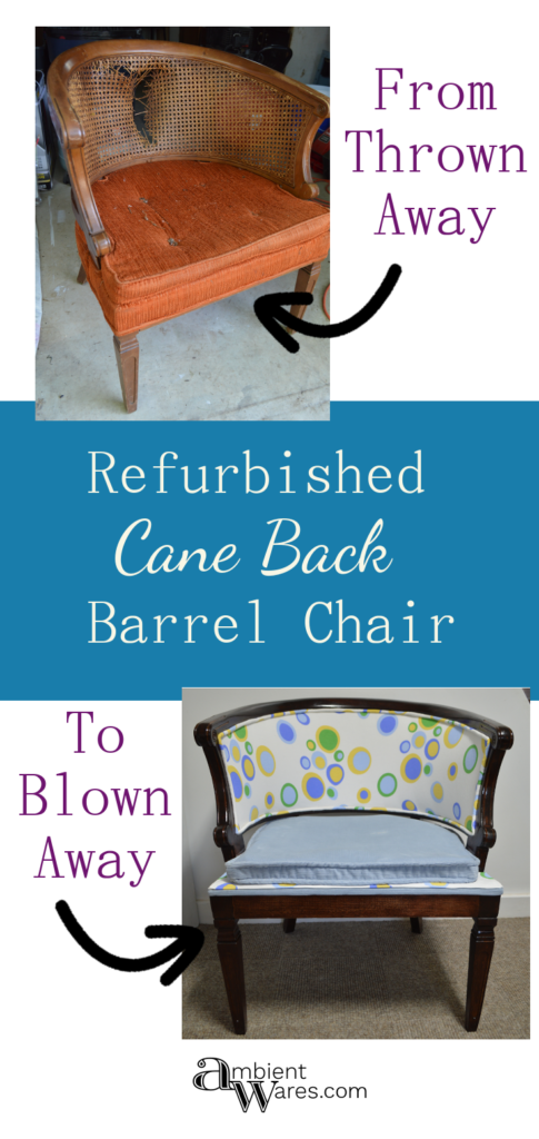 Finding used furniture in the trash is the best! This cane back barrel chair needed a makeover and I gave it one. Is is perfect, no. Did I learn a lot. Yes. For this and more project ideas, visit AmbientWares.com #chairmakeover #howtoremovechaircane #recoveringacanebackchair #canebackbarrelchair