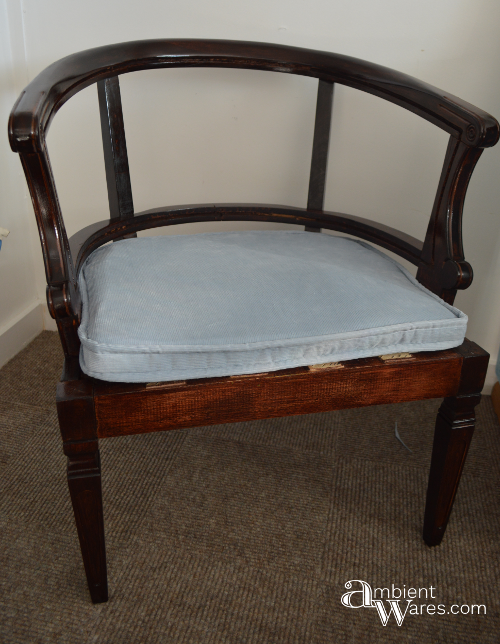 Refurbished Upholstered Cane Back Barrel Chair ~ Ambientwares.com