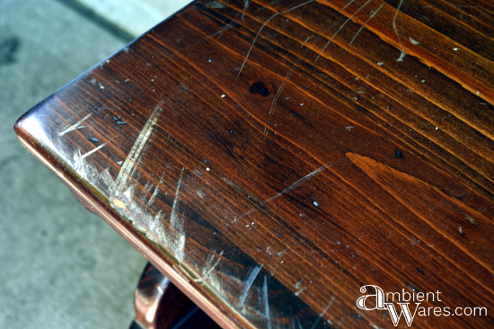 Scratched surface of the TV cart before sanding by AmbientWares.com