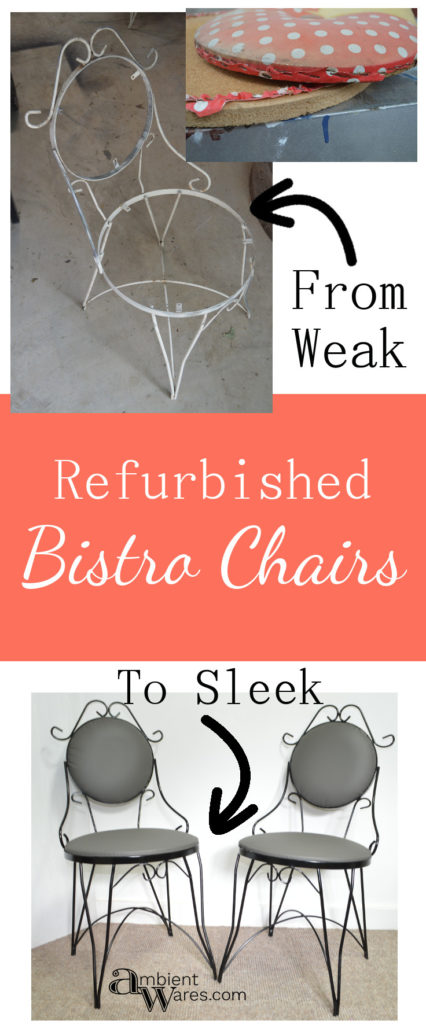 How to refurbish a couple of older vintage bistro chairs. For this and more refurbished chair ideas, visit AmbientWares.com #chairmakeovers #recoveredbistrochairs #bistrochairmakeover