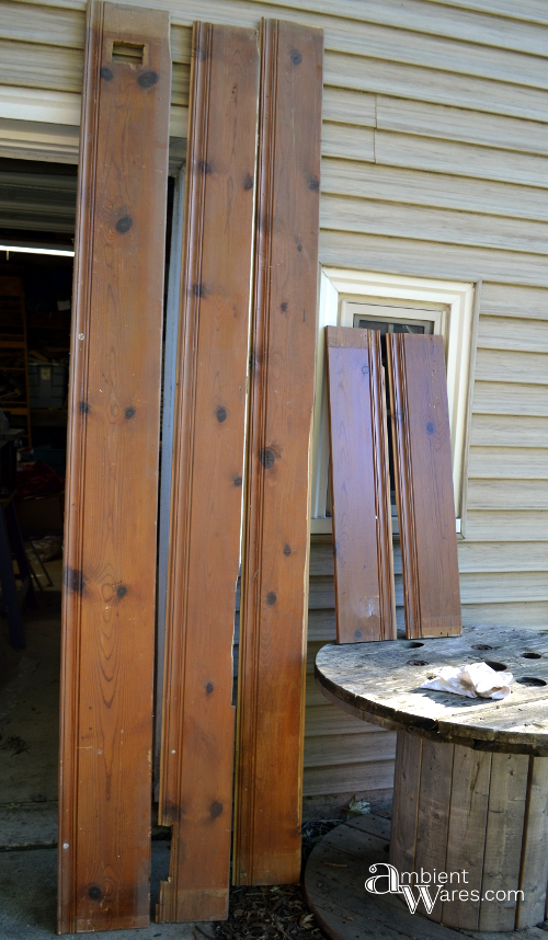 Large pieces of wanscoting used to make the frame