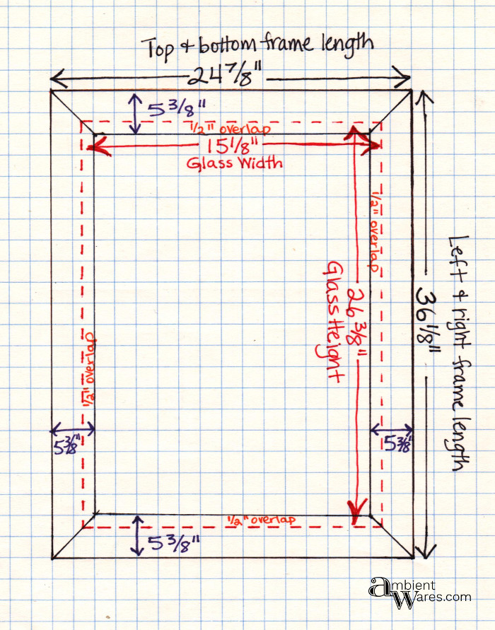 Drawing of measurements used to make the DIY frame