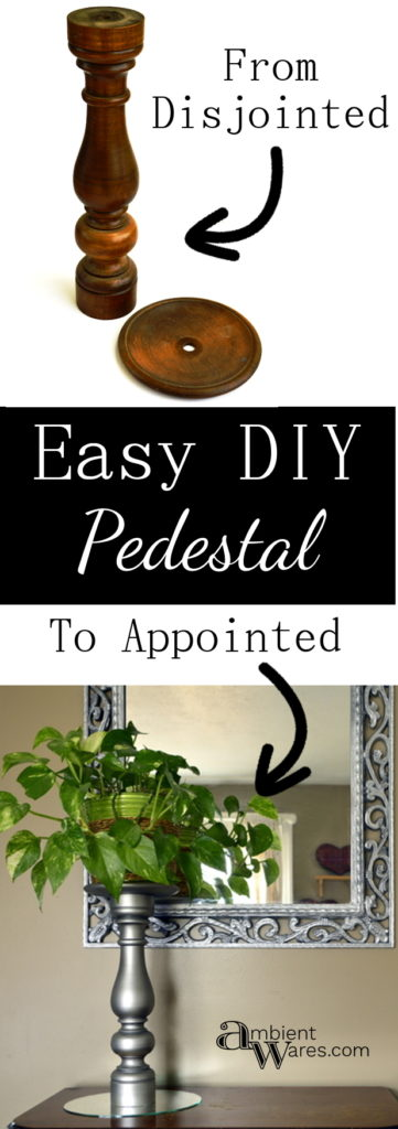 Easy to make DIY Wooden Pedestal from an Old Stand Up Table Lamp. For this and more unique ideas, visit AmbientWares.com #woodenpedestal #usesforoldlamps #oldlampideas