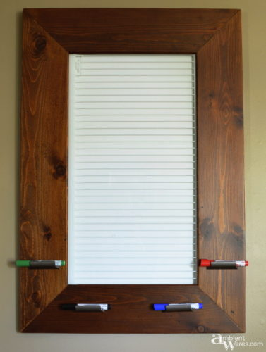 Finished dry erase board from an old refrigerator shelf