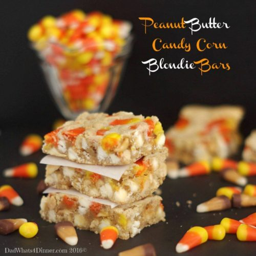 Peanut Butter Candy Corn Blondie Bars