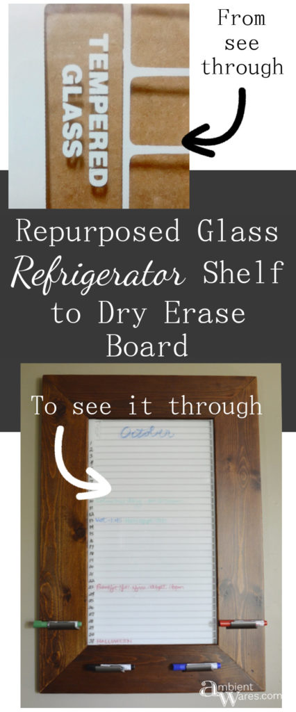 Come see how I turned this large old refrigerator shelf into a DIY wooden framed dry erase board organizer!