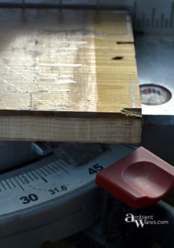 Preparing to cut the 45 degree angles of the frame