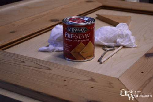 Small can of Minwax Pre-Stain Wood Conditioner for the dry erase board frame
