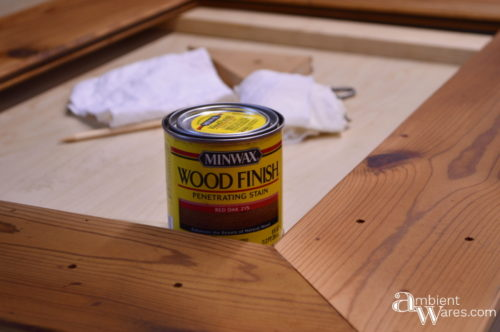Staining the frame with Minwax Red Oak