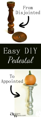 Super easy way to make a pedestal to match your home decor or just for the holidays! Take 2 pieces of wood, glue them together. It's as easy as that!