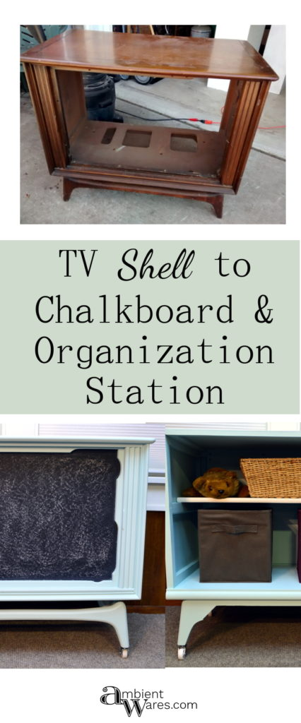 Look at this old tube TV shell I turned into a chalkboard & storage entertainment center!