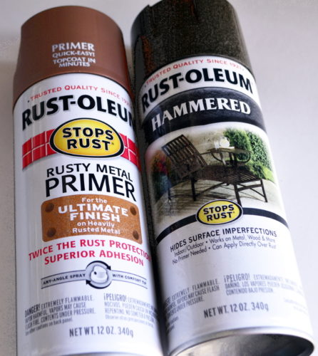 RUST-OLEUM paints used rusty primer & hammered bronze