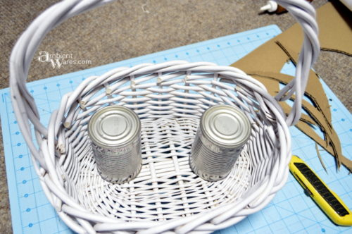 2 tin cans will be the support for the floor in the Winter Wonderland basket