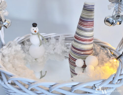 Create this easy Winter Wonderland using a basket! ambientwares.com