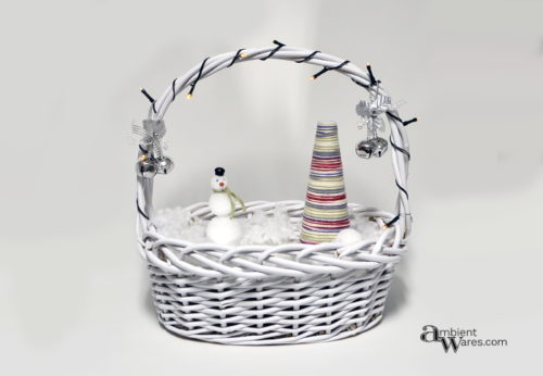 Easy to make DIY Christmas Winter Wonderland from a basket ~ ambientwares.com