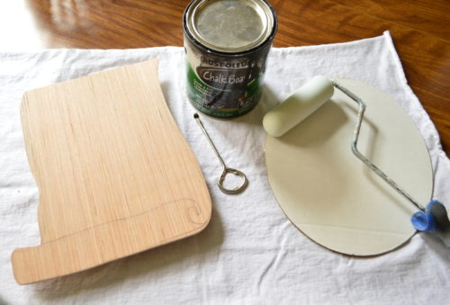 Painting the plywood with chalkboard paint