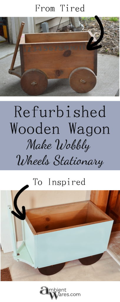 Refurbish an old broken down wooden wagon pull toy and make it a stationary piece of decor or a place to quickly hide those toys in your kids' rooms!