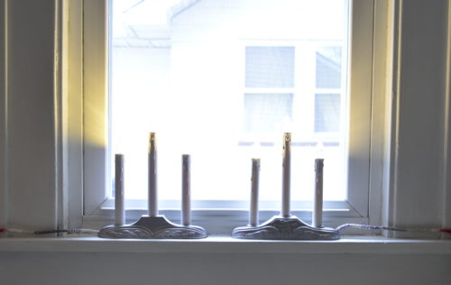 Vintage Plastic Candelabra Makeover - ambientwares.com - Completed makeover in front of window