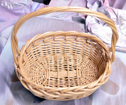 Woven basket before it became a winter wonderland