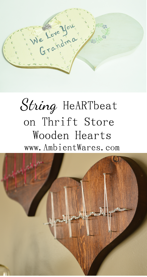 This is such a clever and easy string art project using thrift store wooden hearts! Perfect for Valentine's day or for the doctor or nurse in your life! For this and more unique project ideas, visit AmbientWares.com! #easystringartproject #awesomegiftidea #uniquegiftidea