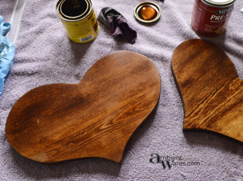 One coat of stain on the heart shaped wooden pieces - www.ambientwares.com