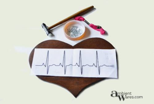 Supplies needed to create the string art heartbeat by AmbientWares.com