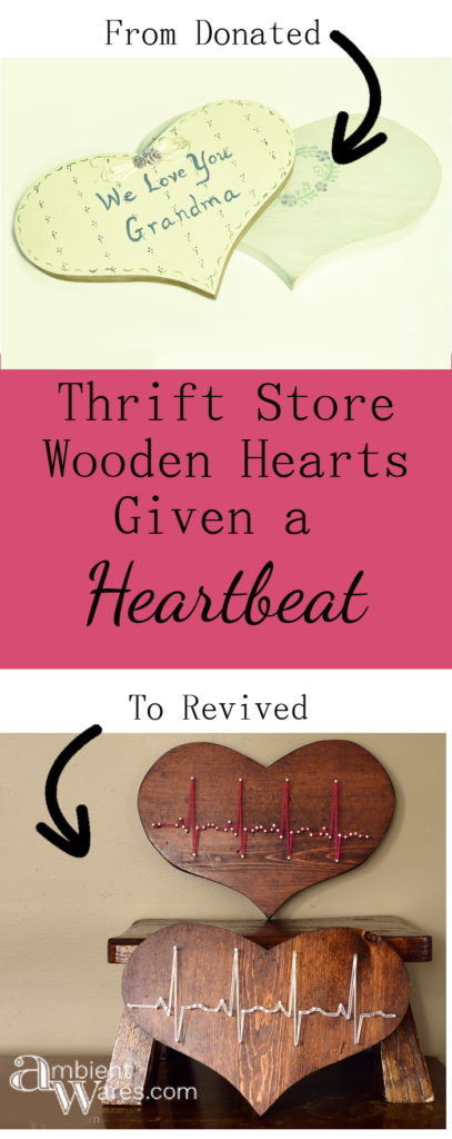 Two thrift store wooden hearts refurbished into wall hangings with heartbeat string art - www.ambientwares.com