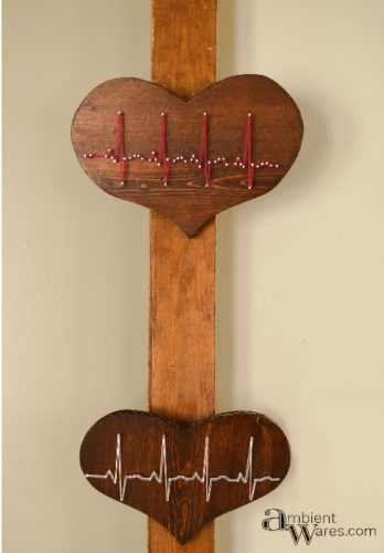 Wall hanging of heart shaped wood with heartbeat string art - www.ambientwares.com