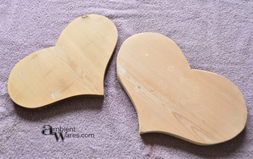 Wooden hearts with wood filler by AmbientWares.com