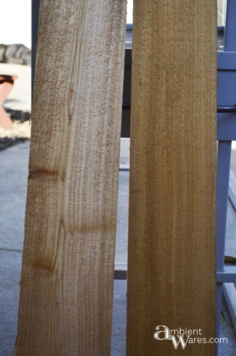 Cedar fence posts I'll use as shelves - Changing table to potting bench - ambientwares.com