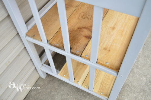 Cedar fence slats set in place - Changing table to potting bench - ambientwares.com