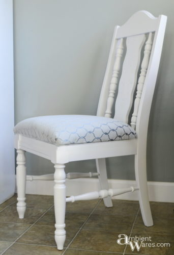 Chair makeover with added storage to hold a book under the seat - ambientwares.com