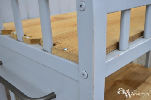 Close up of the newly added cedar shelves - Changing table to potting bench - ambientwares.com