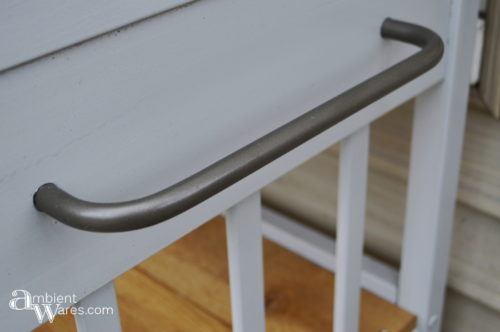Metal handle still looks good after spray painting and being outside - Changing table to potting bench - ambientwares.com