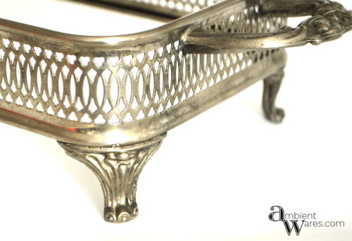 Cleaned silver plate casserole dish holder - DIY Silver Plated Tray & Sconce Votive Centerpiece - ambientwares.com