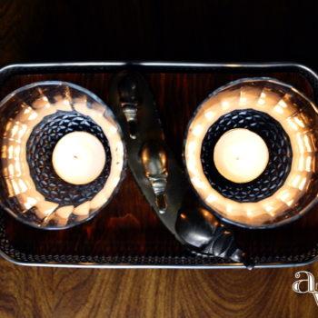 DIY Silver Plated Casserole Dish Holder & Sconce Votives Centerpiece - ambientwares.com
