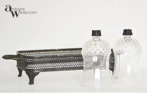 Tarnished silver plated casserole dish basket and 2 glass votive holders- DIY Silver Plated Tray & Sconce Votive Centerpiece - ambientwares.com