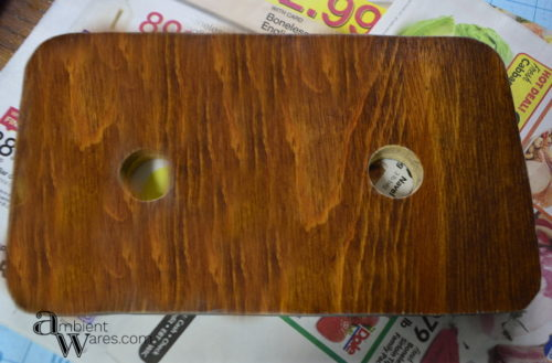 Wooden tray base with holes for the votives - DIY Silver Plated Tray & Sconce Votive Centerpiece - ambientwares.com