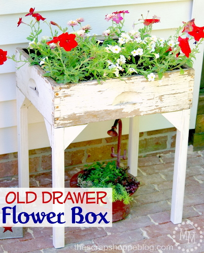 Old drawer flower box