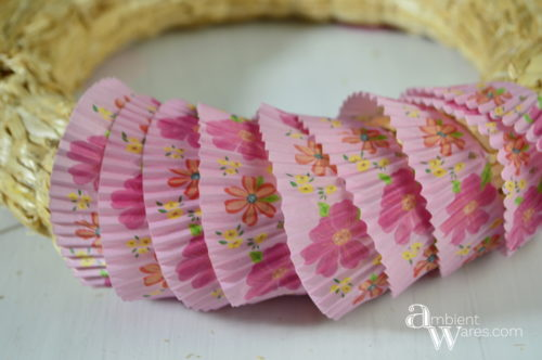The Cupcake Liners Wrapped Around The DIY Spring Wreath ambientwares.com
