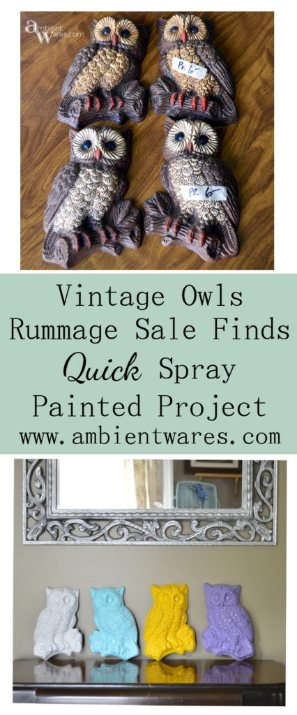 Easy spray painted vintage owl wall hangings ambientwares.com